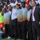 Former Namibian national soccer team medic Gerson Kandjii (third from left) during a match against Botswana in 2010.  Photo: Helge Schutz