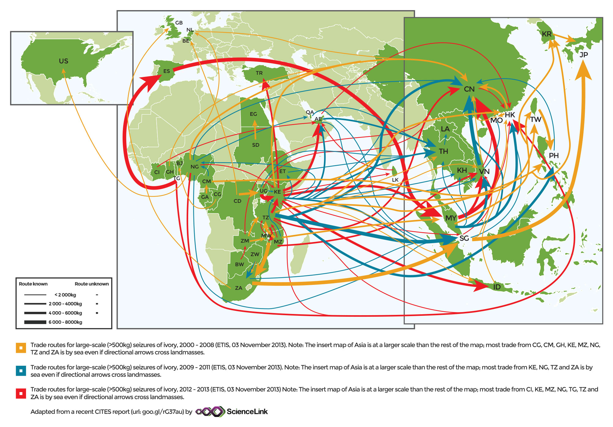 Changes in global ivory trafficking routes from 2000-2013, according to data from ETIS