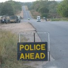 A typical 24-hour police road block at Cross Dete along the Victoria Falls-Bulawayo highway, adjacent to Hwange National Park